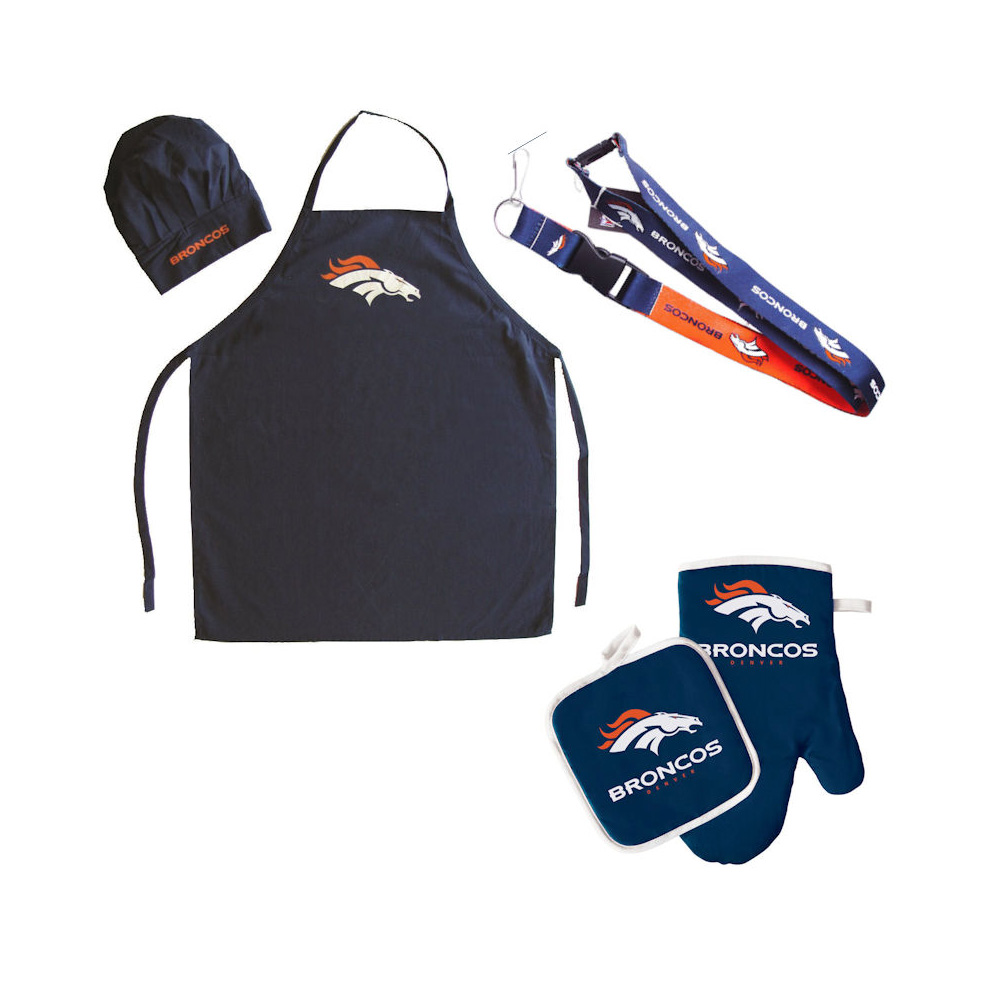 NFL Denver Broncos Sports Team Logo Combo BBQ Set - Chef Hat, Apron, Oven Mitt Pot Holder and Lanyard