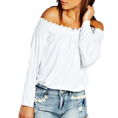 8f8c877ab455 Fresh look - Women s Fashion Casual Loose Shirred Off Shoulder Tops Long  Sleeve Blouse Shirts - Walmart.com