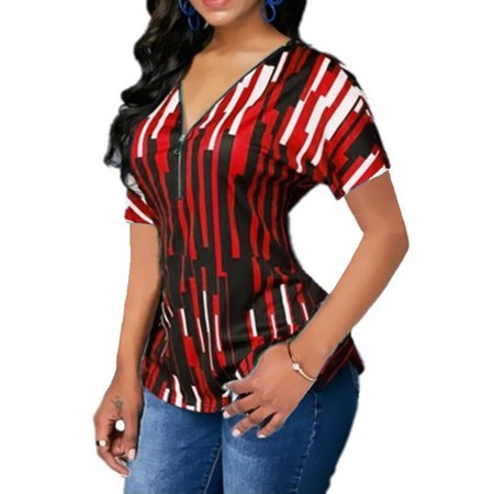 Women Striped V Neck Zip Slim Short Sleeve T Shirt Casual Blouse