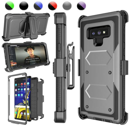 "Njjex Case For 6.4"" Samsung Galaxy Note 9, Samsung Note 9 Holster Blet Clip, Njjex [Gray] Heavy Duty Protection Kickstand + Holster Belt Clip Carrying Armor Case Cover Galaxy Note 9 (2018)"