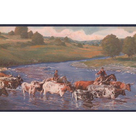Cows Cowboys Crossing Prairie River Wallpaper Border Retro Design, Roll 15