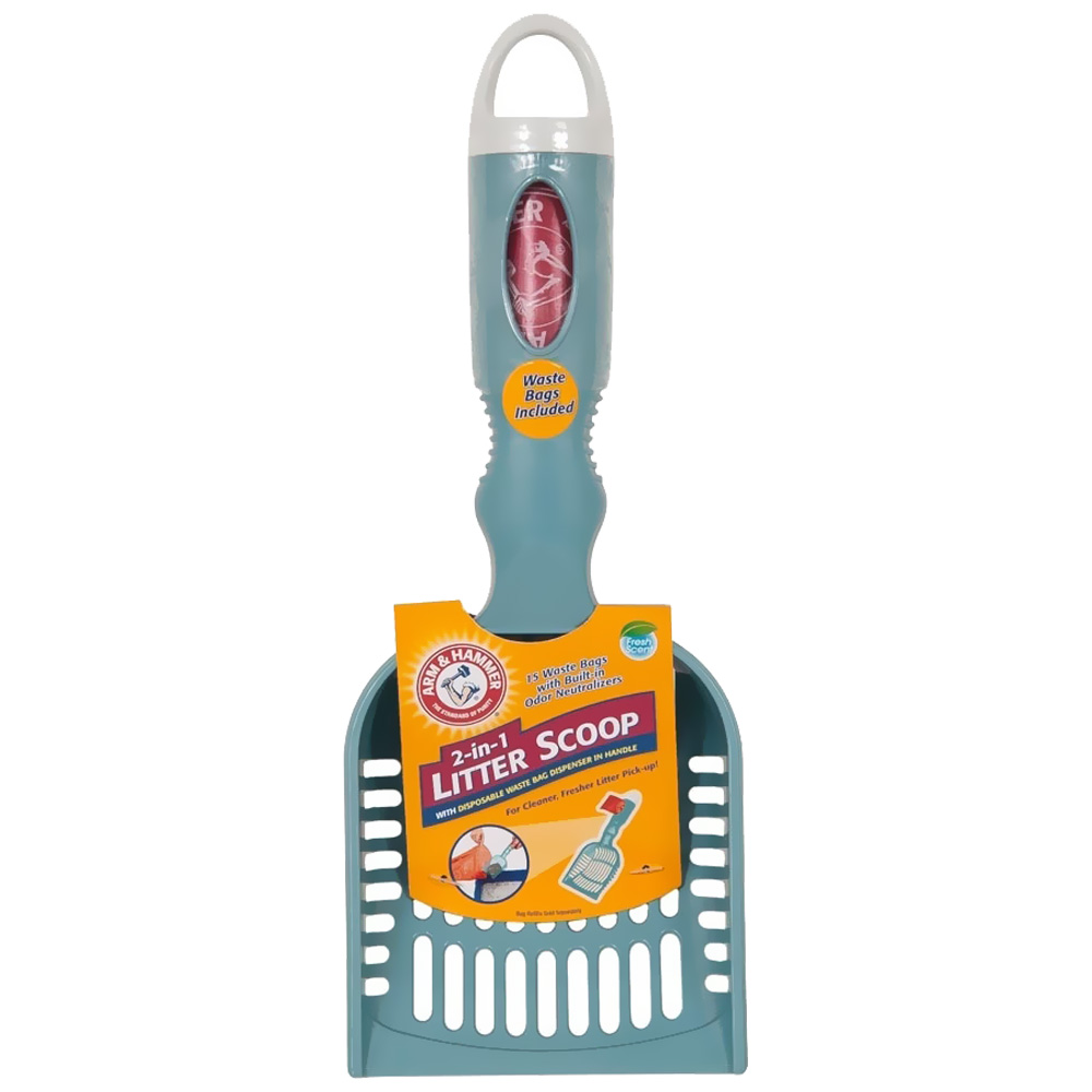 Arm & Hammer, Deluxe 2-in-1 Cat Litter Scoop With Waste Bags, Color Varies