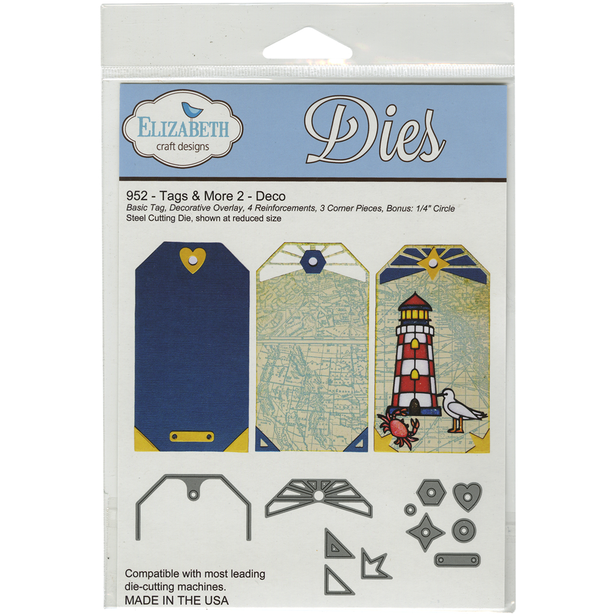 Elizabeth Craft Designs Tags and More Metal Dies-Tag 2 Multi-Colored