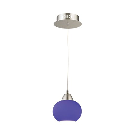 Alico Ciotola LED Pendant in Satin Nickel with Blue (Blue Nickels)