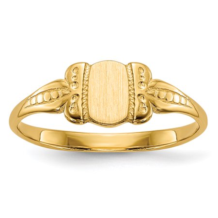 14K Yellow Gold Childs Signet Ring - image 1 de 5