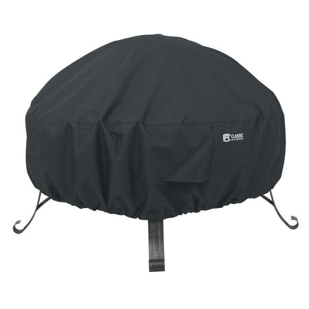 Classic Accessories Full Coverage Round Fire Pit Cover - Water Resistant Outdoor Furniture Cover, 30