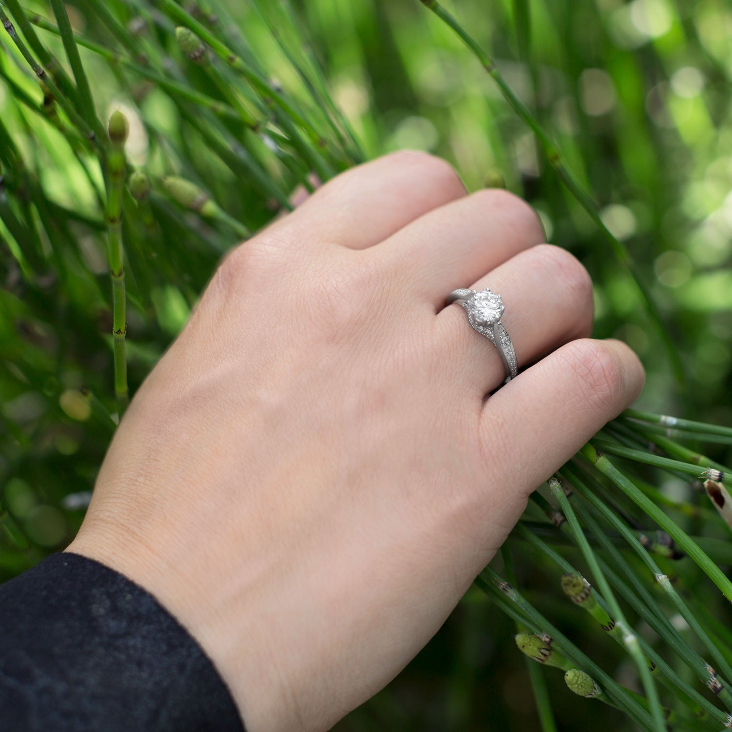 Solitaire with Side Stones Engagement Ring CZ Rhodium on Sterling ...