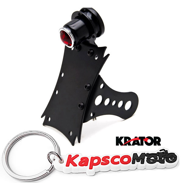 Krator Black Side Axle Mounted Verticle / Horizontal License Plate Assembly with Integrated Taillight and Brake Light and License Plate Light Enhance your Bike, Chopper, Cruiser + KapscoMoto Keychain
