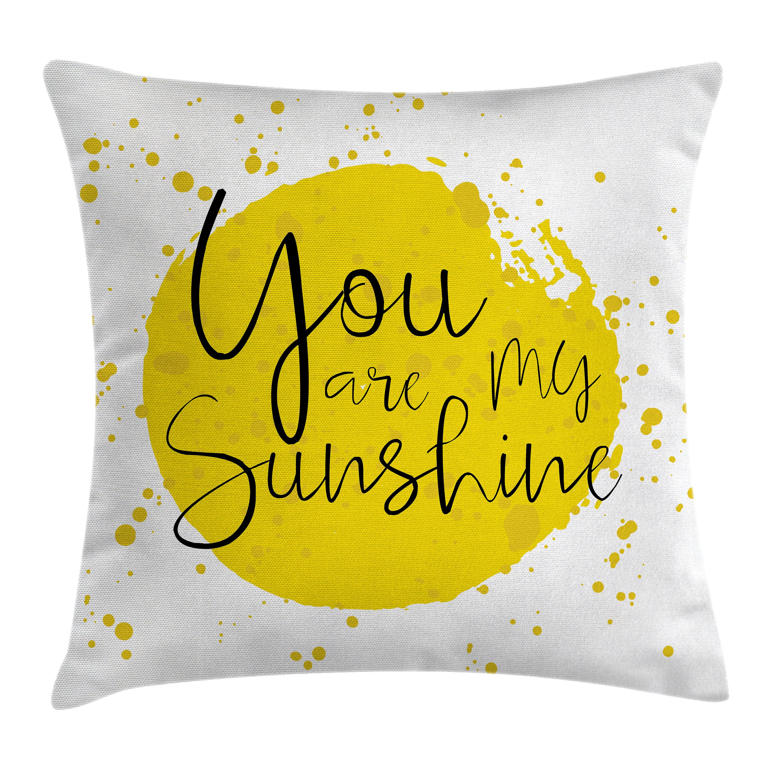 Quotes Decor Throw Pillow Cushion Cover, Circular Color Splash Outspread Brush with Inspirational Quote Valentines Concept, Decorative Square Accent Pillow Case, 18 X 18 Inches, Yellow, by Ambesonne