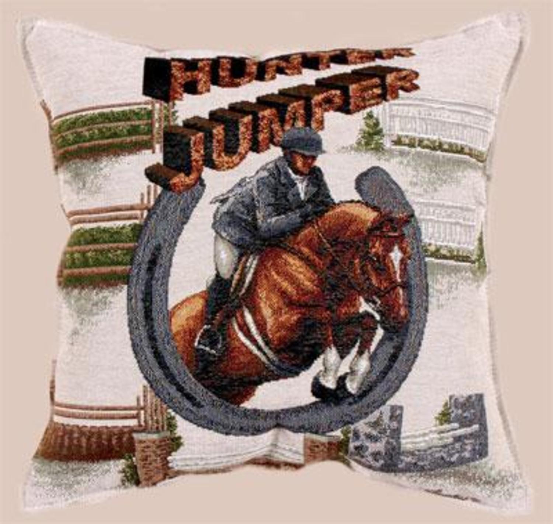 """Hunter Jumper Horse Decorative Throw Pillow 17"""" x 17"""""""