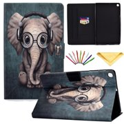Dteck Flip Case For Samsung Galaxy Tab A 10.1 inch 2019 tablet SM-T510/T515 , Cute Pattern Slim PU Leather Multi-Angle Viewing Folio Wallet Stand Cover, Built-in Card Slots, Elephant