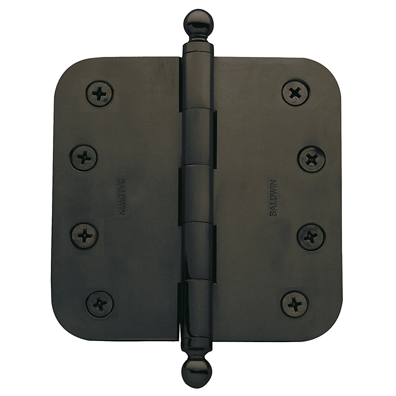 "Baldwin 5/8"" Radius Corner Hinge Pair 3.5 x 3.5 Oil Rubbed Bronze"