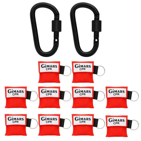 Gimars 10 Pack CPR Mask Key Chain Kit One-Way Valve and Face Mask Emergency Face Shields Breathing Barrier for First Aid Rescue or AED Training, Red