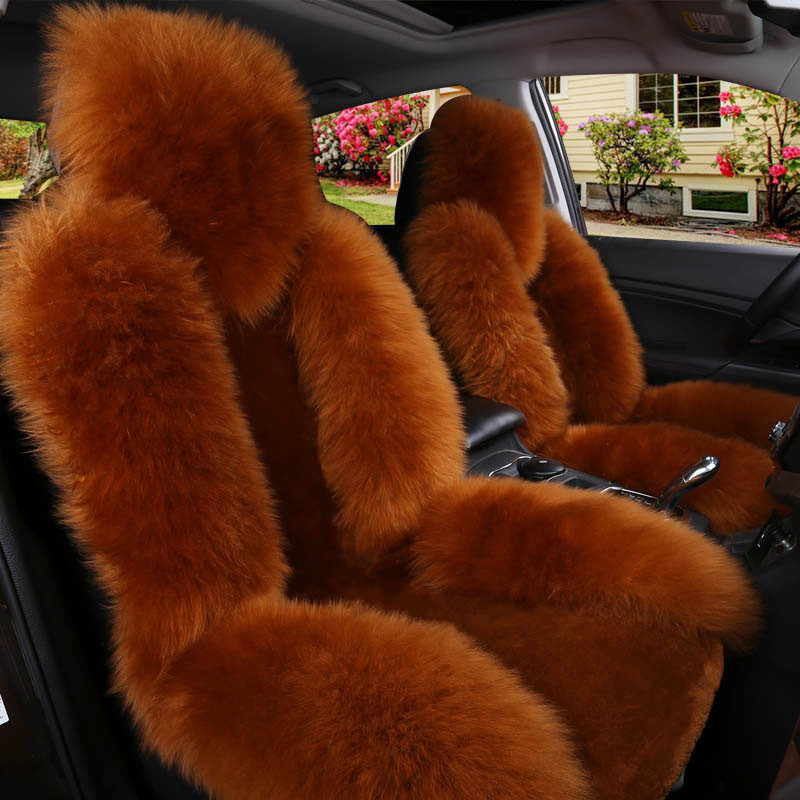 Meigar Single Wool Car Seat Cover Warm Sheepskin Fur Front Seat Cushion Mat Full Surround Pad Winter Warm Cover
