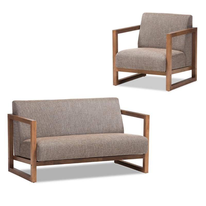 2 Piece Mid Century Modern Loveseat and Reception Accent Chair Set