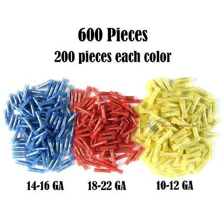 600 RED BLUE YELLOW NYLON  BUTT CONNECTORS 22-18 16-14 12-10 AWG GA