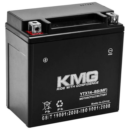 KMG Battery Compatible with Kawasaki 1200 ZX-12R 2005 YTX14-BS Sealed Maintenance Free Battery High Performance 12V SMF OEM Replacement Powersport Motorcycle ATV Scooter Snowmobile - image 1 of 3