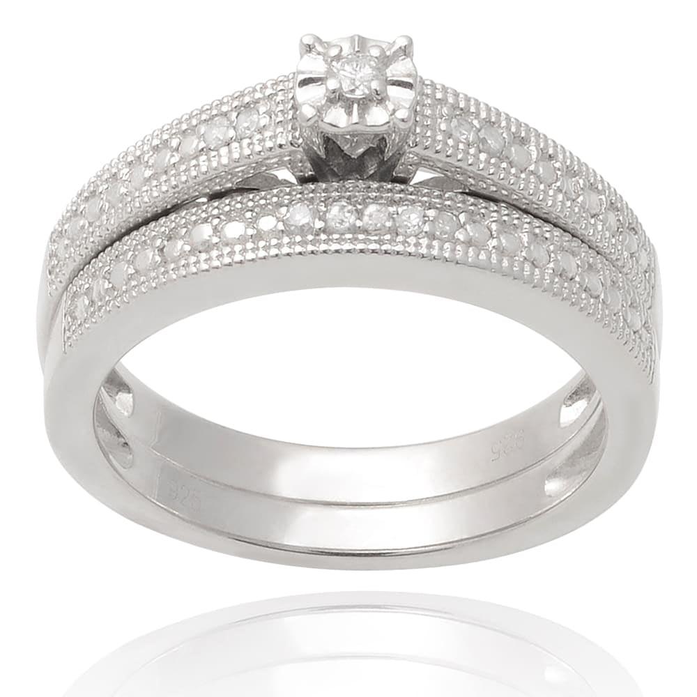 Journee Collection  Sterling Silver Diamond 1/6 TDW Weddi...
