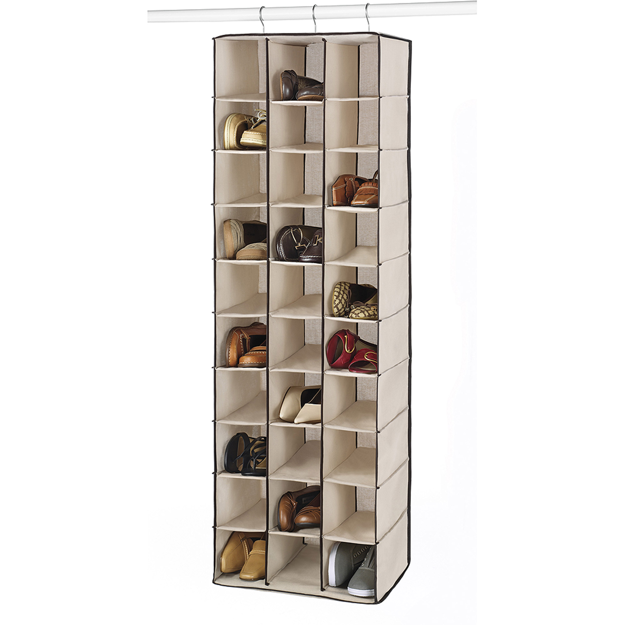Whitmor 30-Section Hanging Shoe Shelves, Tan/Espresso