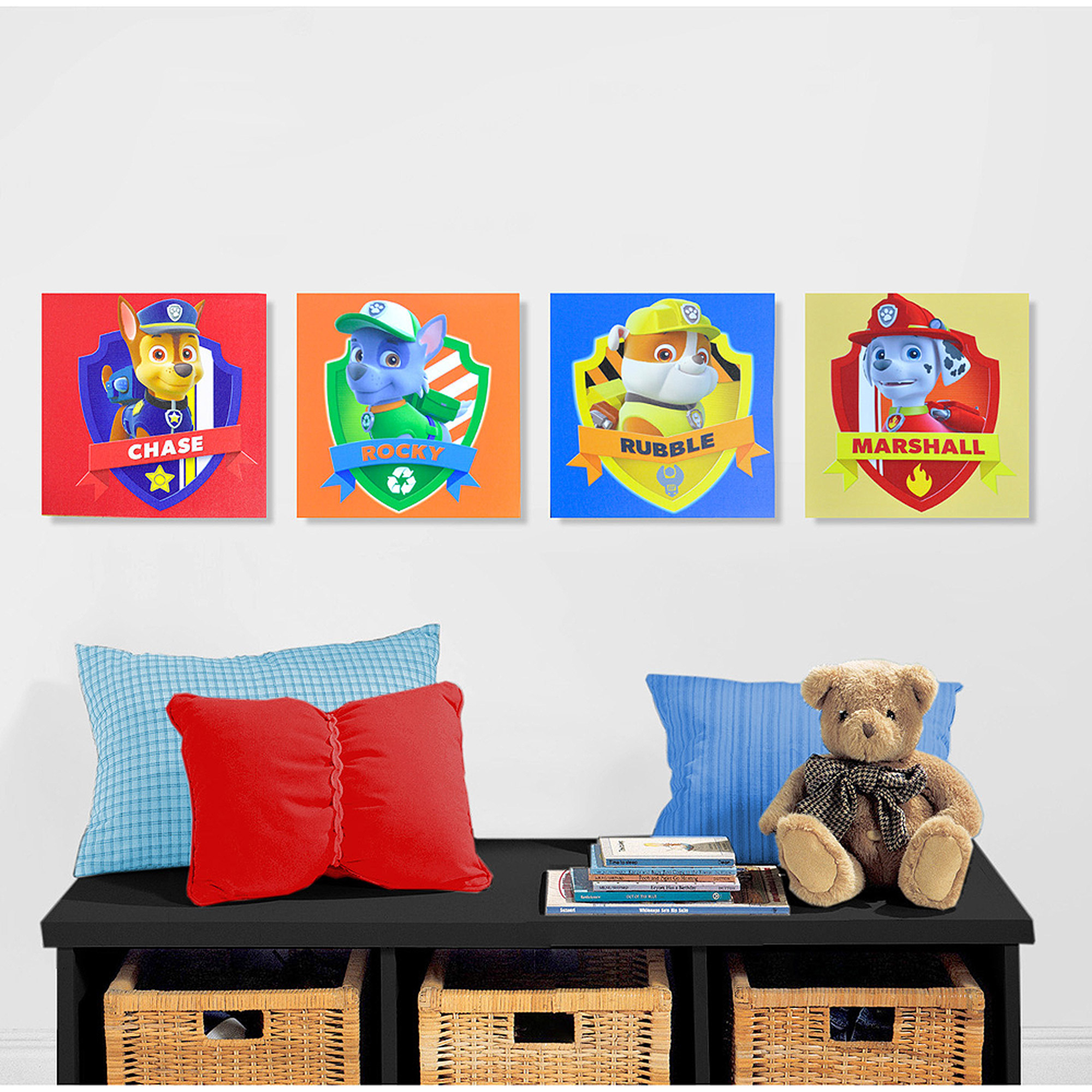 Canvas Wall Decor nickelodeon paw patrol 4-piece canvas wall art - walmart