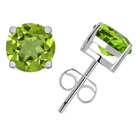 0.5 Ct Green Peridot Gemstone Birthstone 925 Sterling Silver Stud Earrings Solitaire Round 4mm For Women