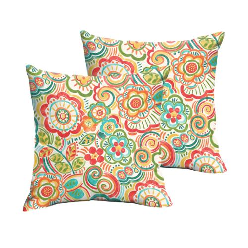 Mozaic Co Selena Red Rio Floral Indoor/ Outdoor Knife-Edge Square Pillows (Set of 2)