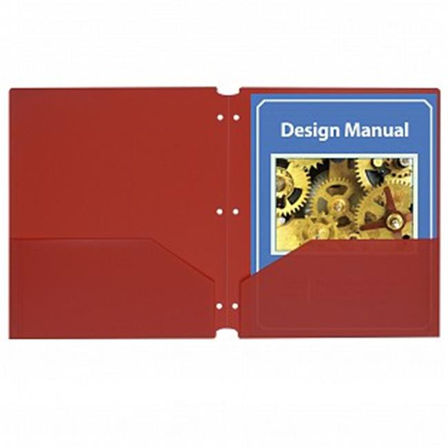 C-Line Products 32934 Two-Pocket Heavyweight Poly Portfolio Folder, Red - Box - 25