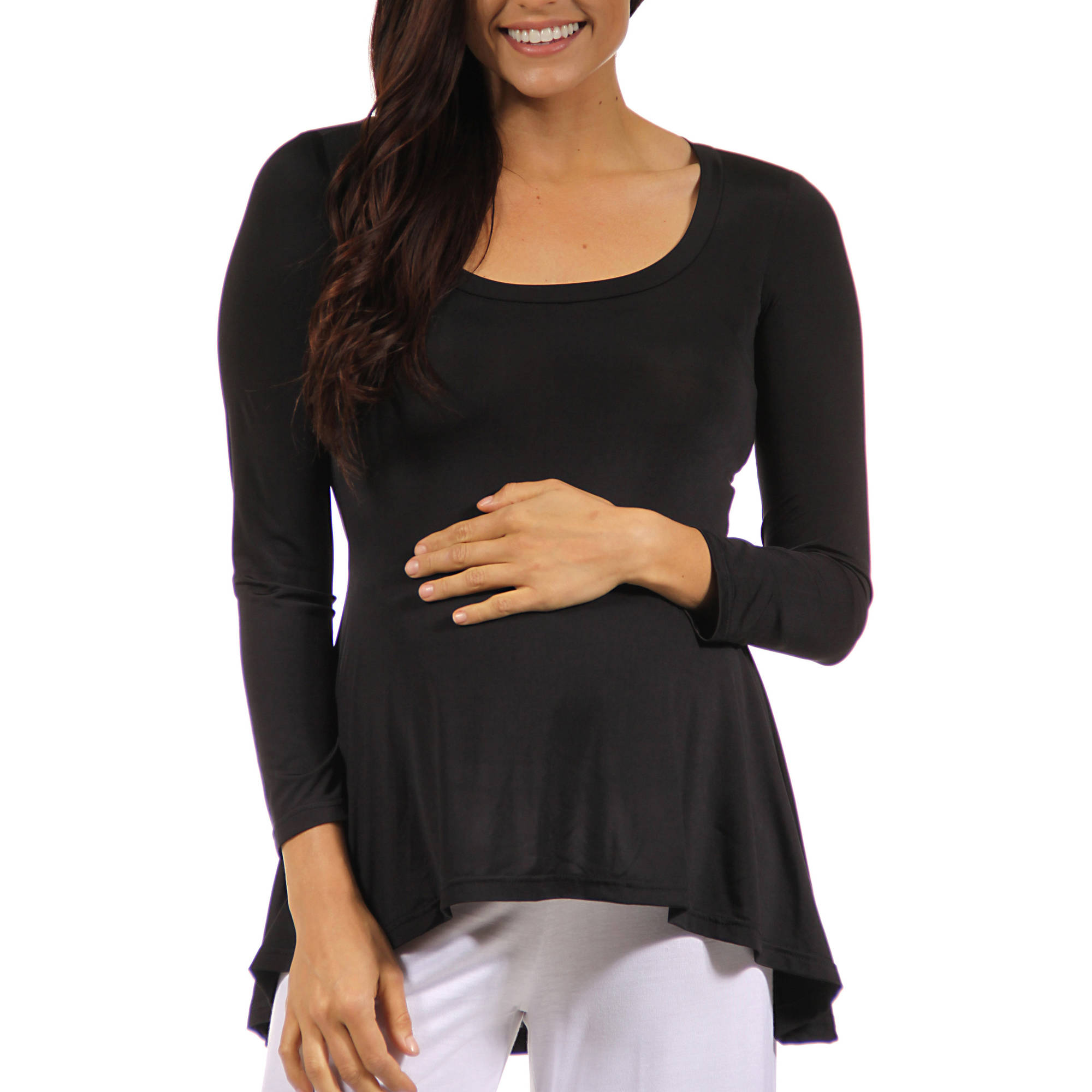 Women's Long Sleeve High-Low Maternity Tunic Top