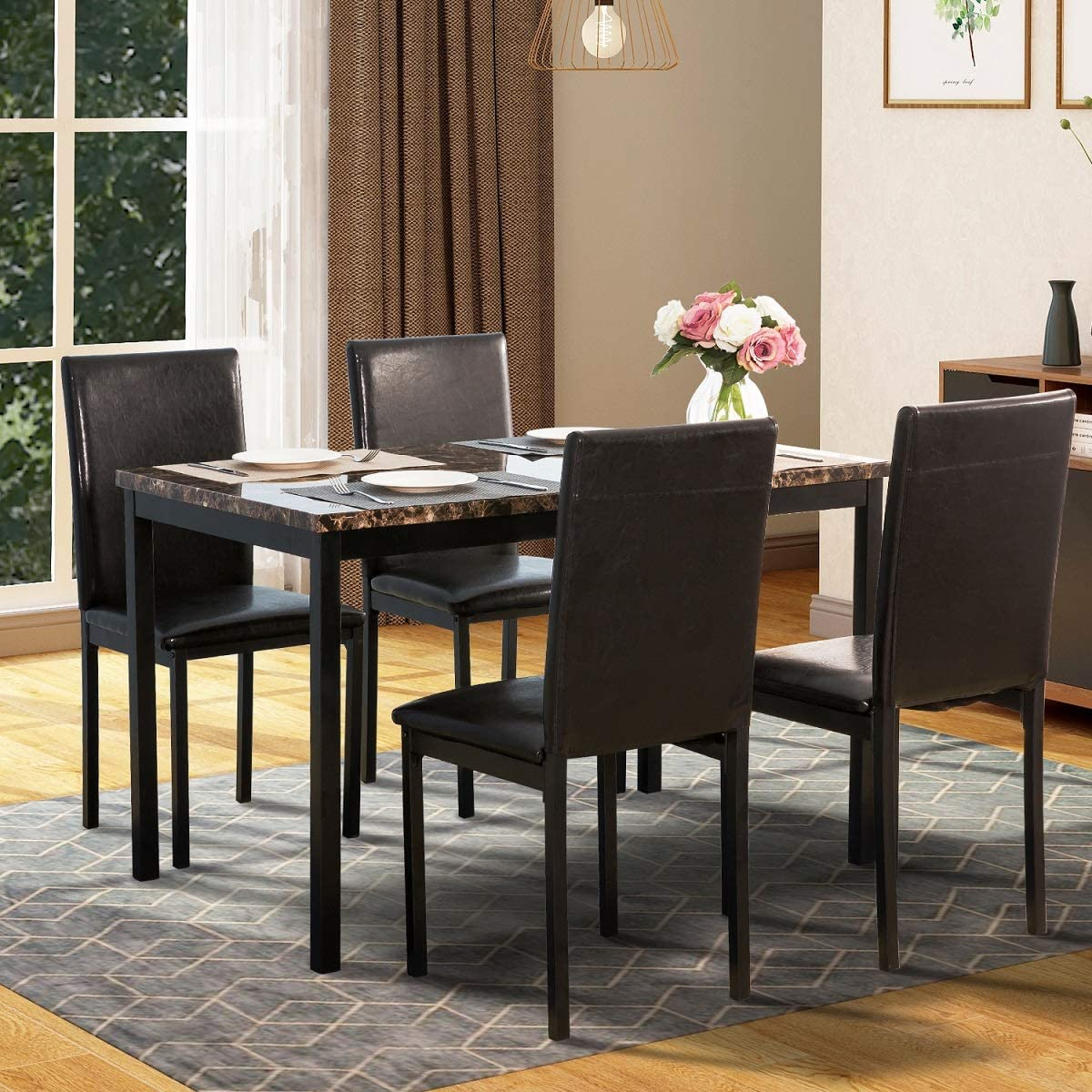 5 Piece Dining Room Table Set Modern Metal Dining Set With Faux Marble Top Dining Table And 4 Chairs Rectangular Dining Table Set Perfect For Bar Kitchen Small Spaces Furniture Black W13290