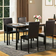 Metal Dining Table Set with 4 Chairs, Elegant Faux Marble Top Dining Table and 4 PU Leather Chairs, 5 Piece Kitchen Dining Set for Bar, Breakfast Nook, Small Space Dining Room Furniture, Black, W13289