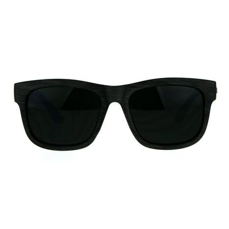 Dark Black Lens Wood Grain Horn Rim Plastic Kush Sunglasses