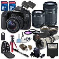 Canon EOS 80D DSLR Camera Bundle with Canon EF-S 18-55mm f/3.5-5.6 IS STM Lens + Canon EF-S 55-250mm f/4-5.6 IS STM Lens + 500mm f/8 Preset Lens + 650-1300mm f/8-16 Lens - International Model