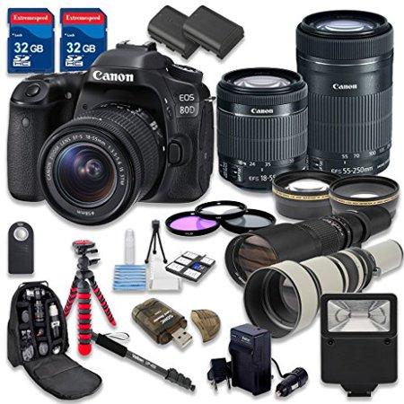 Canon EOS 80D DSLR Camera Bundle with Canon EF-S 18-55mm f/3.5-5.6 IS STM Lens + Canon EF-S 55-250mm f/4-5.6 IS STM Lens + 500mm f/8 Preset Lens + 650-1300mm f/8-16 Lens - International