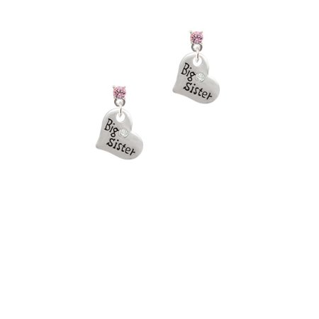 Crystal Heart Bag - Silvertone Small ''Big Sister'' Heart with Clear Crystal Light Pink Crystal Post Earrings