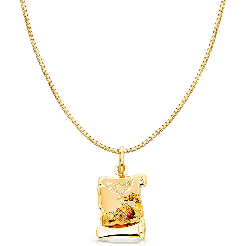 14K Yellow Gold Baptism Enamel Picture Religious Girl Charm Pendant with 0.8mm Box Chain Necklace