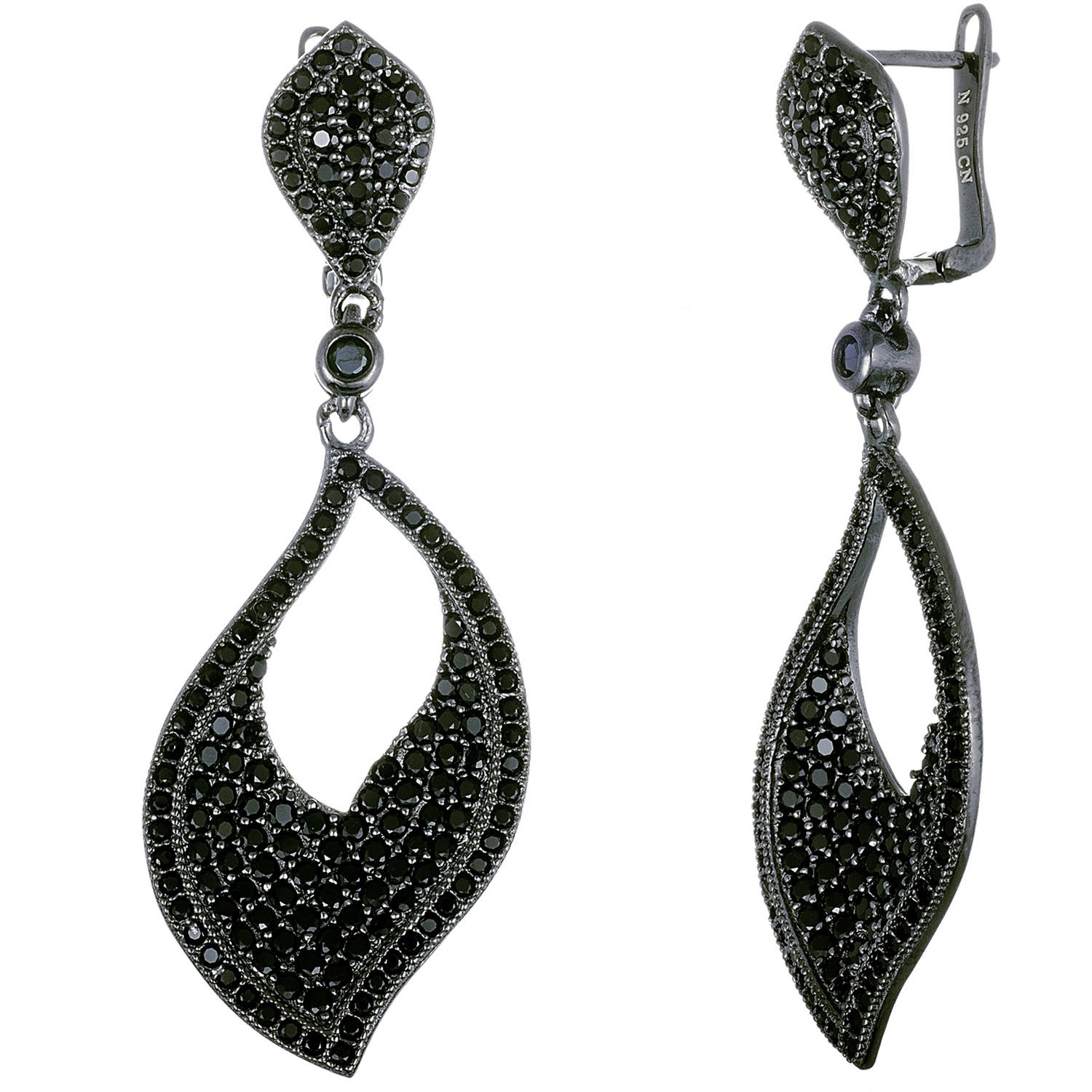 Angelique Silver Black Onyx CZ Sterling Silver Open Teardrop Earrings