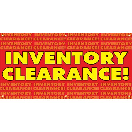 Inventory Clearance Vinyl Display Banner with Grommets, 3'Hx6'W, Full Color ()