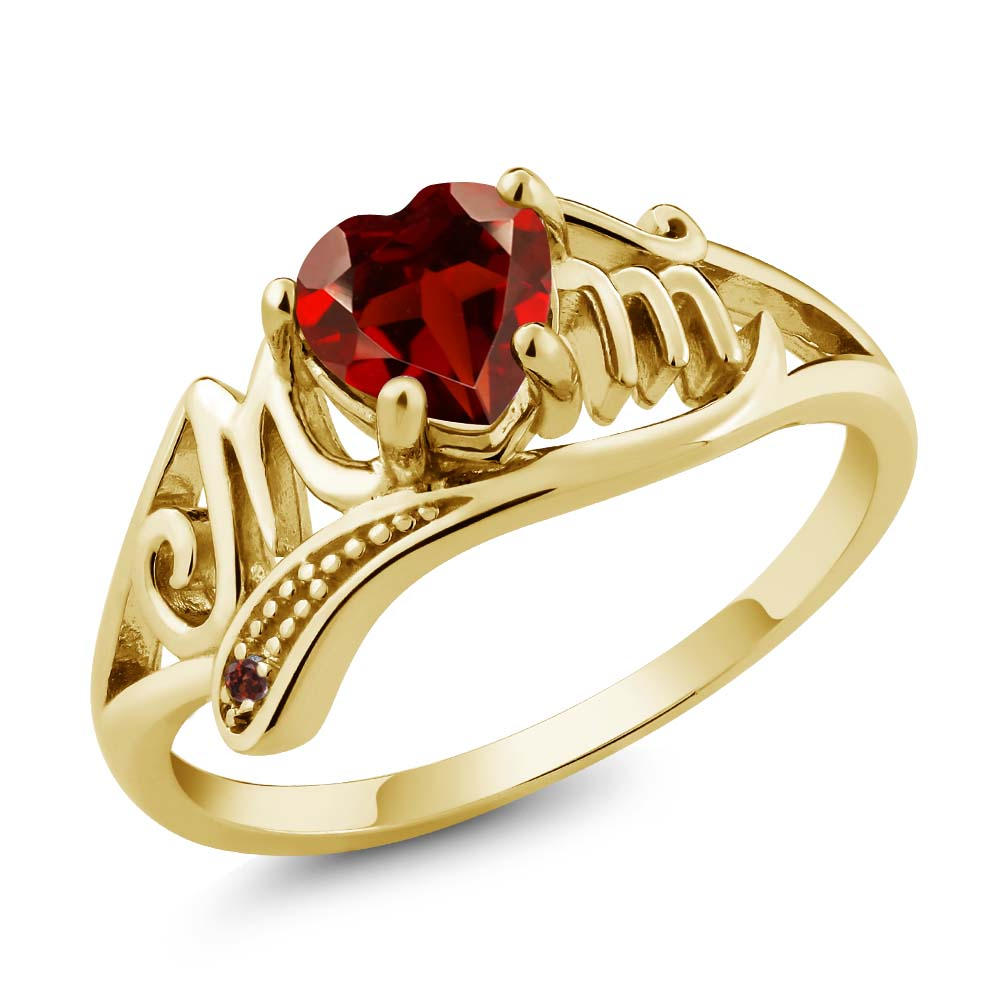 0.56 Ct Genuine Heart Shape Red Garnet Gemstone 14k Yellow Gold Mom Ring by