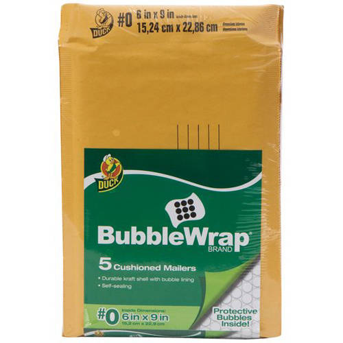 "Duck Brand 5pk 6"" x 9"" Kraft Bubble Mailer"