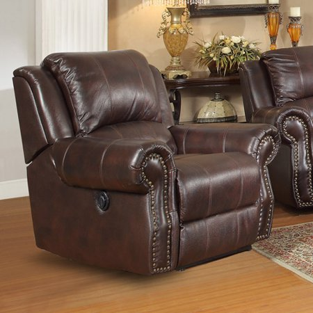 Sir Rawlinson Traditional Rocker Recliner With Swivel In Leather Match  Burgundy