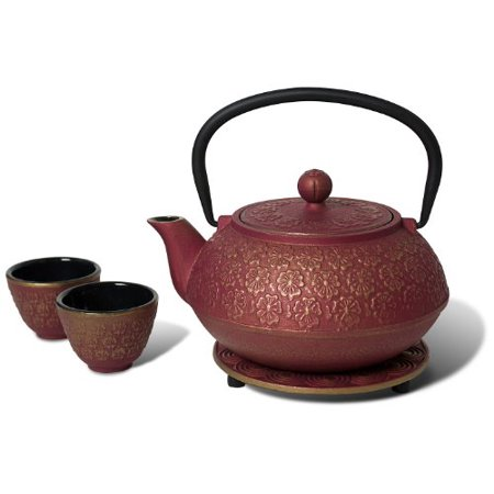 Bamboo Cast Iron Teacup (Miya Scarlet Blossom 34-Ounce Cast Iron Teapot and Teacup Set w/ Strainer and Trivet, Pink )