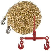 "Grade 70 3/8"" x 25' Chain - Ratchet Chain Binder - Made in USA Packa"