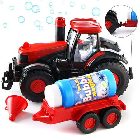 Prextex Bump & Go Bubble Blowing Farm Tractor Truck with Lights Sounds and Action Fun Toy and Gift for Kids](Light Toys For Kids)