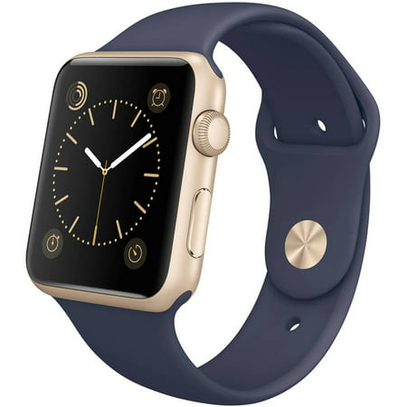 Apple Watch 42Mm Gold Aluminum Case With Midnight Blue Sport Band  Certified Refurbished