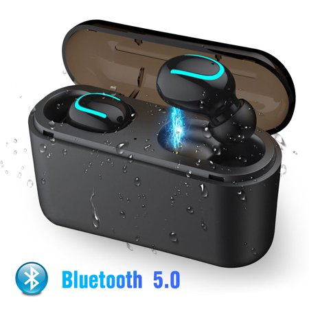 EEEKit True Wireless Earbuds, Bluetooth V5.0 HiFi Sound Wireless Bluetooth Earphones Binaural Stereo Headphones One Button Design with Noise Cancelling Mic, Charging Case