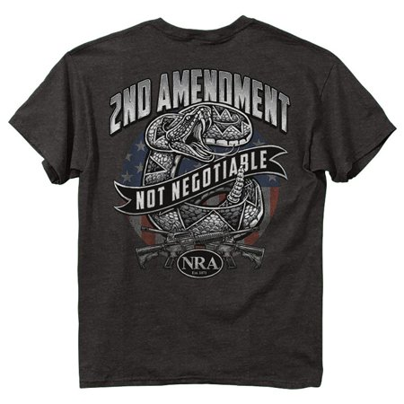 NRA T-Shirt Snake 2nd Amendment Not Negotiable Gray T-Shirt (S)
