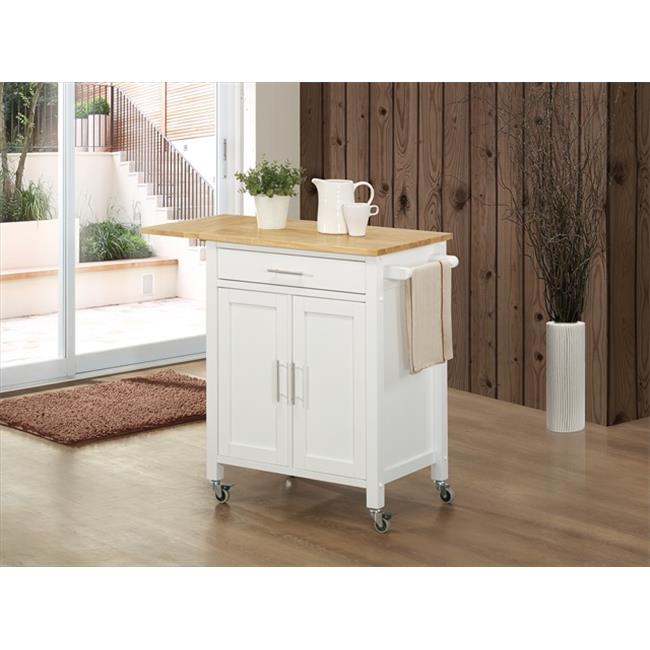 Sunset Trading Vermont Kitchen Cart with Drop Leaf Butcher Block Top