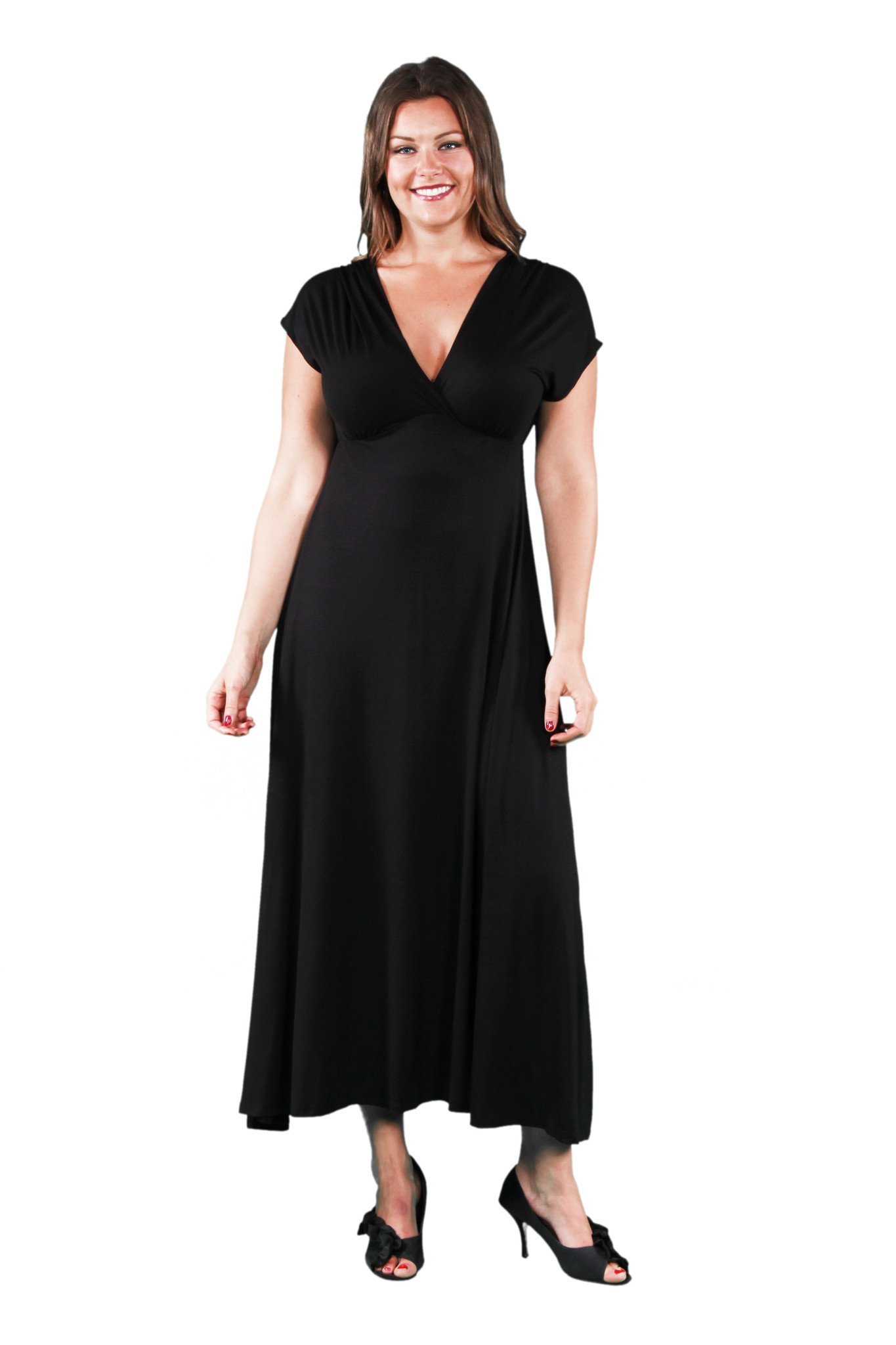 4d9d47bf0d4 24 7 Comfort Apparel - Women s Plus Faux Wrap Maxi Dress - Walmart.com