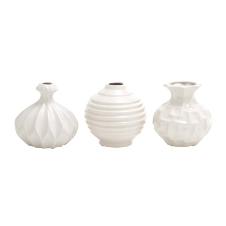 Modern Art Ceramic (Decmode Modern 6 Inch Sculpted Design Ceramic Vases, White - Set of 3 )