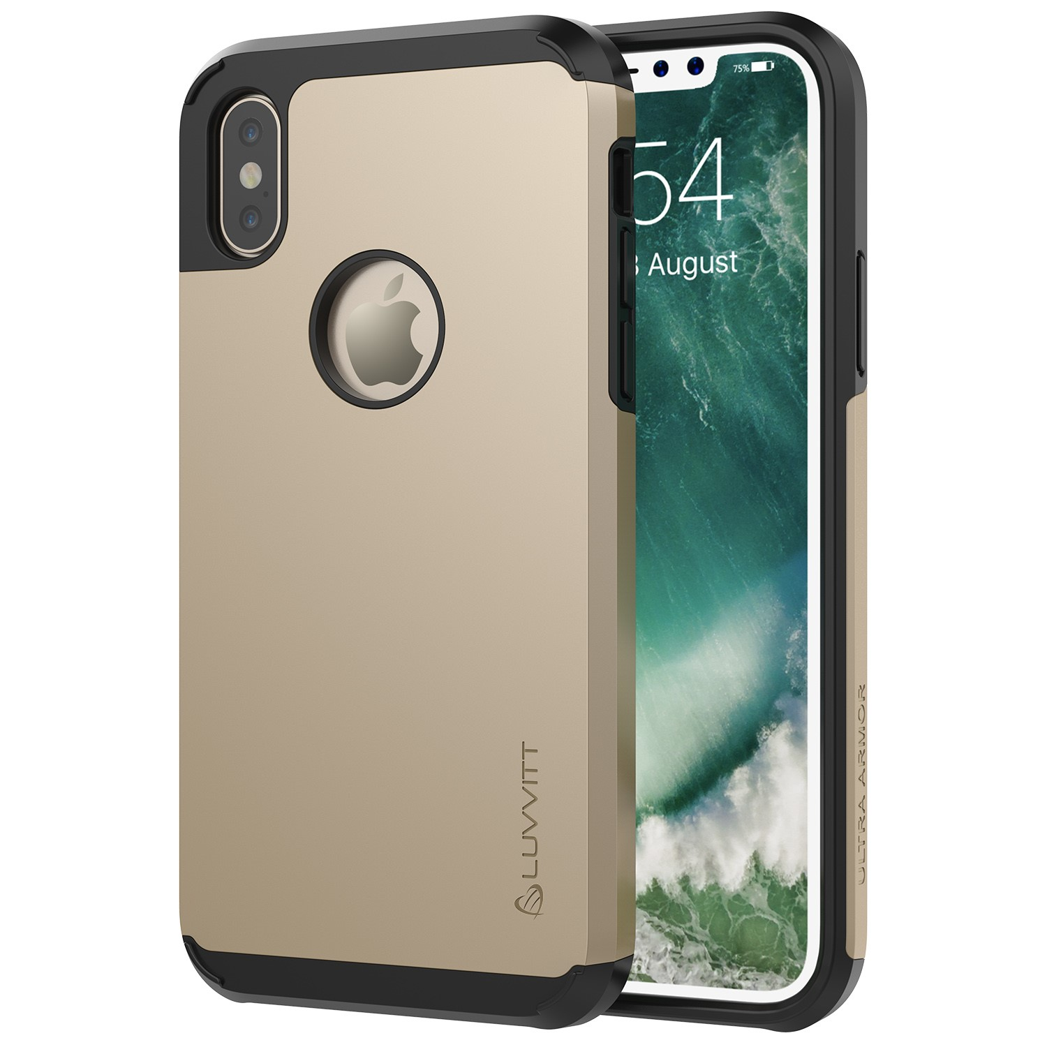 iPhone XS Case, Luvvitt Ultra Armor iPhone Cover with Dual Layer Heavy Duty Protection and Air Bounce Technology for iPhone X and XS with 5.8 inch Screen 2017-2018 - Black